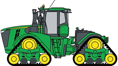 Photo of only half of a John Deere Tracked Tractor