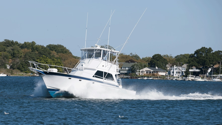 Striker 44' powers through the water with twin John Deere engines