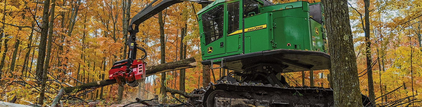 859MH Tracked Harvester with HTH623C Harvesting Head working in the forest