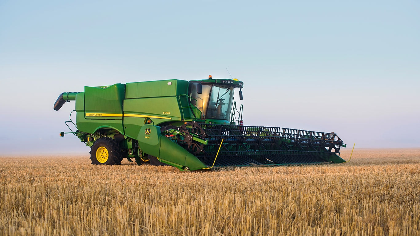 Image of an S780 Combine working in a field