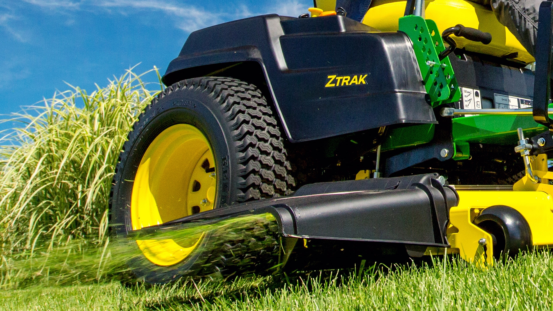 image of mulching system attached to lawn tractor
