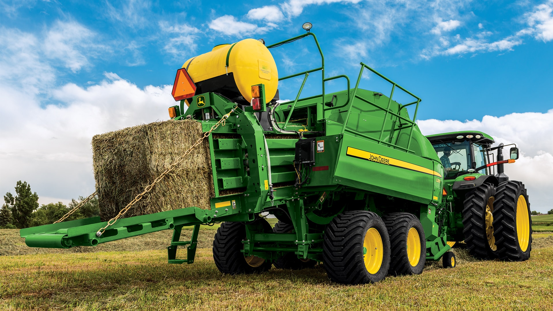 Photo of L300 baler creating bales