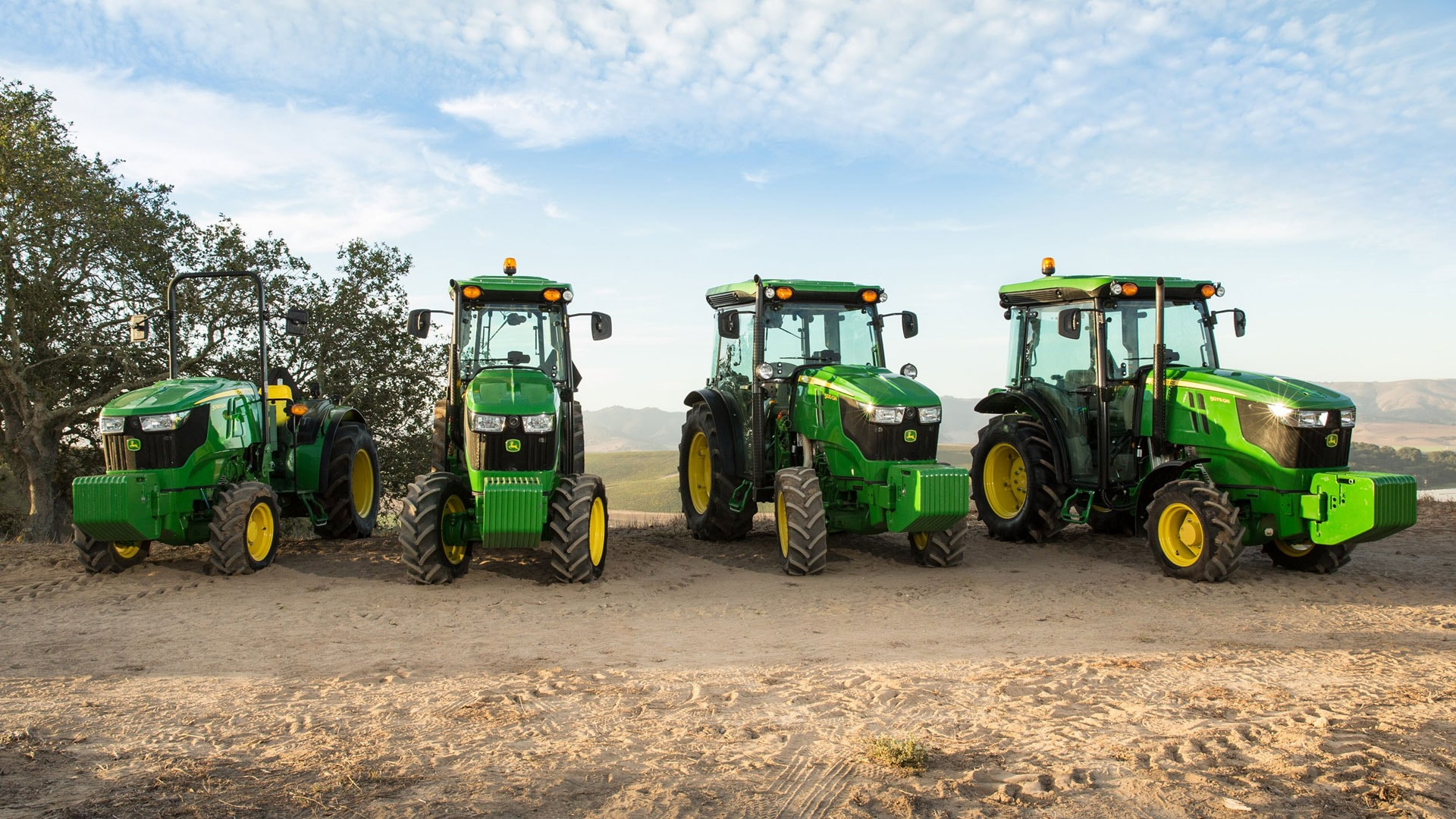 group of narrow specialty tractors